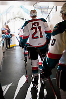 KELOWNA, CANADA - DECEMBER 30: Kyle Pow #21 of the Kelowna Rockets walks to the ice against the Victoria Royals on December 30, 2017 at Prospera Place in Kelowna, British Columbia, Canada.  (Photo by Marissa Baecker/Shoot the Breeze)  *** Local Caption ***