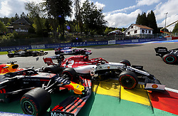 September 1, 2019, Spa-Francorchamps, Belgium: MAX VERSTAPPEN (Red Bull Racing), left, collides with KIMI RAIKKONEN (Alfa Romeo Racing) at Turn 1, breaking his front suspension, on the first lap of the Formula One Grand Prix of Belgium. (Credit Image: © Hoch Zwei via ZUMA Wire)