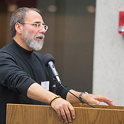 "Shaul Magid is seen at the ""If Not Now, When?"" conference put on by Open Hillel at Harvard University on October 11, 2014 in Cambridge, Massachusetts. (Photo by Elan Kawesch/The Times of Israel)"