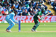 Shakib Al Hasan (vc) of Bangladesh batting with Jonny Bairstow of England behind the stumps during the ICC Cricket World Cup 2019 match between England and Bangladesh the Cardiff Wales Stadium at Sophia Gardens, Cardiff, Wales on 8 June 2019.