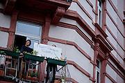 Frankfurt am Main | 05 July 2014<br /> <br /> Am Samstag (05.07.2014) demonstrierten in Frankfurt am Main etwa 250 Menschen aus der linksradikalen Szene gegen die deutsche Fl&uuml;chtlingspolitik, gegen Abschiebungen und f&uuml;r das Bleiberecht gefl&uuml;chteter Menschen in Deutschland und anderswo.<br /> Hier: Plakat &quot;Fight Fortress Europe&quot; in der Taunusstra&szlig;e.<br /> <br /> [Foto honorarpflichtig, kein Model Release]<br /> <br /> &copy;peter-juelich.com