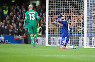 Pedro of Chelsea holds hid head after coming close to scoring but is challenged by goalkeeper Wilfredo Caballero during the FA Cup match at Stamford Bridge, London<br /> Picture by Alan Stanford/Focus Images Ltd +44 7915 056117<br /> 21/02/2016
