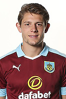 BURNLEY, ENGLAND - JULY 20:  James Tarkowski of Burnley poses during the Premier League portrait session on July 20, 2016 in Burnley, England. (Photo by Barrington Coombs/Getty Images for Premier League)
