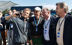 04.05.2014, Hockenheimring, Hockenheim, GER, DTM, 1. Lauf, Hockenheimring, Pressekonferenz, im Bild Nico Rosberg macht ein Selfie mit Franz Beckenbauer, Andreas Brehme und Klaus Augenthaler // during a press Conference prior to the 1th run of DTM at the Hockenheimring in Hockenheim, Germany on 2014/05/04. EXPA Pictures © 2014, PhotoCredit: EXPA/ Eibner-Pressefoto/ Neis<br /> <br /> *****ATTENTION - OUT of GER*****