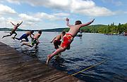 Jumping into Lake Dunmore, Salisbury, Vermont.