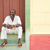 Local man relaxing outside a shop in Trinidad, Cuba.