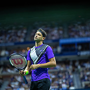 2019 US Open Tennis Tournament- Day Nine.  Grigor Dimitrov of Bulgaria reacts during his match against Roger Federer of Switzerland in the Men's Singles Quarter-Finals match on Arthur Ashe Stadium during the 2019 US Open Tennis Tournament at the USTA Billie Jean King National Tennis Center on September 3rd, 2019 in Flushing, Queens, New York City.  (Photo by Tim Clayton/Corbis via Getty Images)