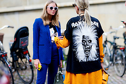 Street style, Celine Aagaard arriving at Freya Dalsojo Spring Summer 2017 show held at Borsen, in Copenhagen, Denmark, on August 10, 2016. Photo by Marie-Paola Bertrand-Hillion/ABACAPRESS.COM  | 558625_004 Copenhagn Danemark Denmark