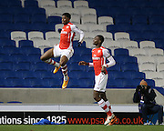 CHUBA AKPOM scores a goal and celebrates during the Barclays U21 Premier League match between Brighton U21 and Arsenal U21 at the American Express Community Stadium, Brighton and Hove, England on 1 December 2014.