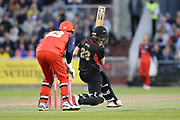 Leicestershire Foxes Lewis Hill (Wicket Keeper)  during the Vitality T20 Blast North Group match between Lancashire Lightning and Leicestershire Foxes at the Emirates, Old Trafford, Manchester, United Kingdom on 30 August 2019.
