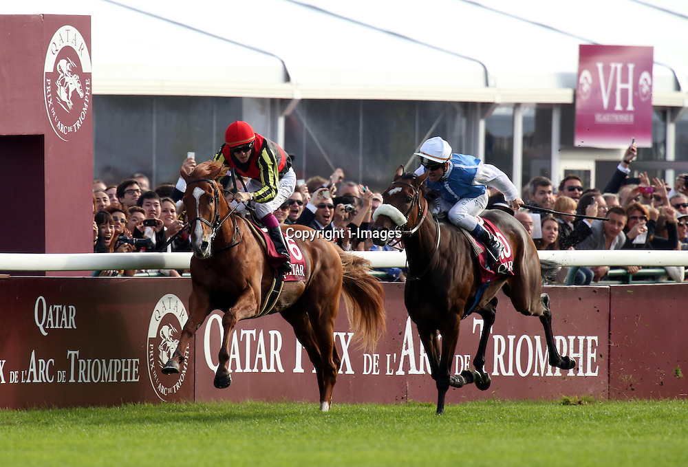 Solemia (right) ridden by Olivier Peslier celebrates after beating Orfevre (left) ridden by Christophe Soumillon in the Qatar Prix Del'Arc de Triomphe at Longchamp, Paris, France, October 7, 2012. Photo by i-Images.