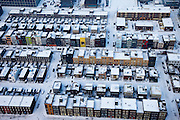 Nederland, Amsterdam, IJburg, 07-01-2010; Steigereiland, winter tafereel. De verschillende huizen zijn ontworpen en/pf gebouw door de bewoners zelf.<br />