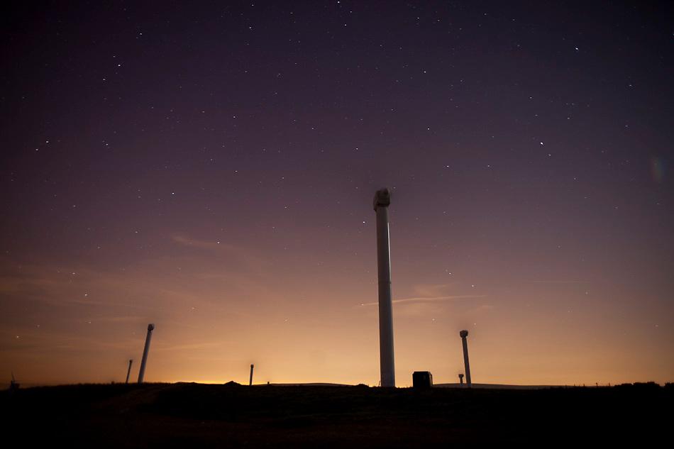 May 2010 Coal Clough Windfarm at Night