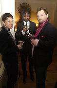 Sadie Coles, Zaim Kamal and Juergen Teller, Dinner at the Italian Embassy in which the winner of the MaxMara Art Prize for Women is announced. Grosvenor Sq. London . 2 February  2006. © Copyright Photograph by Dafydd Jones 66 Stockwell Park Rd. London SW9 0DA Tel 020 7733 0108 www.dafjones.com