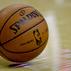 Oct 23, 2013; New Orleans, LA, USA; A NBA basketball on the floor during a preseason game between the New Orleans Pelicans and the Miami Heat at New Orleans Arena. The Heat defeated the Pelicans 108-95. Mandatory Credit: Derick E. Hingle-USA TODAY Sports