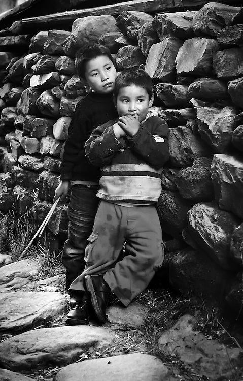 Boys in a rural village in eastern Bhutan.