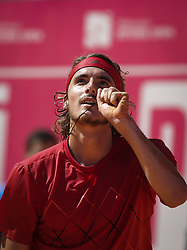 May 4, 2018 - Lisbon, Portugal - Stefanos Tsitsipas celebrates the victory during the Millennium Estoril Open tennis tournament in Estoril, outskirts of Lisbon, Portugal on May 4, 2018  (Credit Image: © Carlos Costa/NurPhoto via ZUMA Press)