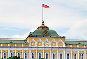Hammer and Sickle flag flying over The Kremlin, Russia