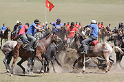 Team kok boru being played at a traditional Kyrgyz horse games festival. Bosogo jailoo, Naryn province, Kyrgyzstan.