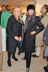 Left to right, ARABELLA BURWELL and VANESSA ANSTRUTHER-GOUGH-CALTHORPE at a private view entitled Stop Making Sense featuring work by Georgiana Anstruther and Carol Corell held at Lacey Contemporary, 8 Clarendon Cross, London on 9th March 2016.