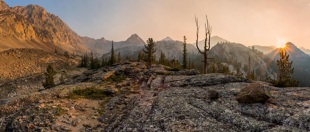 Smoke fills the sky at Goat Lake ridge in the White Cloud Wilderness.