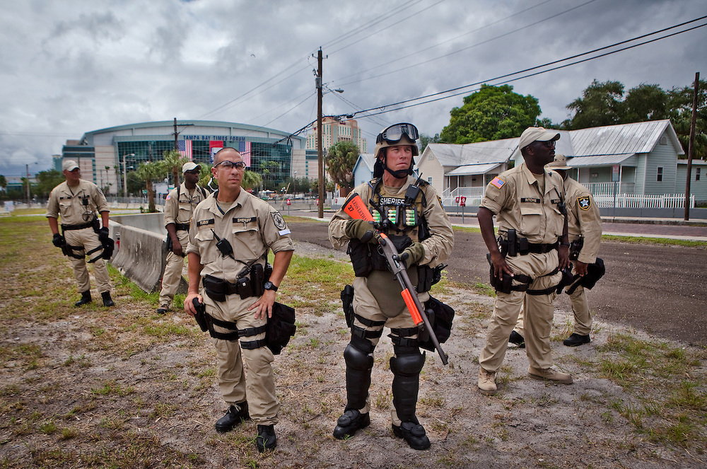 August 27th, 2012, Tampa Florida, Riot Police in front of the Tampa Bay Times Forum where the RNC will be held.