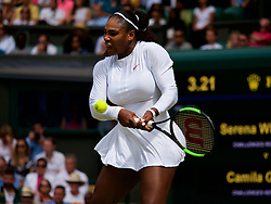 LONDON, ENGLAND - Tuesday, July 10, 2018: Serena Williams (USA) during her 3-6, 6-3, 6-4 victory during the Ladies' Singles Quarter-Final match on day eight of the Wimbledon Lawn Tennis Championships at the All England Lawn Tennis and Croquet Club. (Pic by Kirsten Holst/Propaganda)