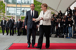 Bildnummer: 57991875..Chancellor Angela Merkel and Franois Grard Georges Nicolas Hollande Visit and Reception with military Honor the French Presidents in Federal Chancellery in Berlin Germany, Tuesday May 15, 2012.Sven Simon/imago/ i-Images