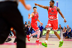 Tevin Falzon of Bristol Flyers and Fred Thomas of Bristol Flyers - Photo mandatory by-line: Ryan Hiscott/JMP - 03/11/2018 - BASKETBALL - SGS Wise Arena - Bristol, England - Bristol Flyers v Newcastle Eagles - British Basketball League Championship