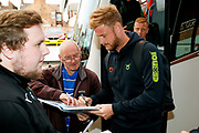 Forest Green Rovers players arrive during the EFL Sky Bet League 2 match between Port Vale and Forest Green Rovers at Vale Park, Burslem, England on 20 August 2019.
