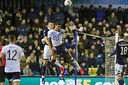Everton striker Dominic Calvert-Lewin (29) battles in the air and wins a header during the The FA Cup fourth round match between Millwall and Everton at The Den, London, England on 26 January 2019.