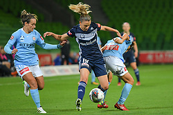 November 16, 2018 - Melbourne, Victoria, Australia - LIA PRIVITELLI (19) of Melbourne Victory fights for the ball in round 3 of the W-League competition between Melbourne City and Melbourne Victory during the 2018 season at AAMI Park, Melbourne, Australia. The Westfield W-League is Australia's national women's semi-professional soccer league. Melbourne Victory won 2-0. (Credit Image: © Sydney Low/ZUMA Wire)
