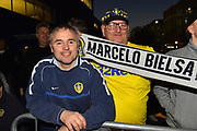 Leeds fans outside the stadium awaiting the team bus during the EFL Sky Bet Championship match between Queens Park Rangers and Leeds United at the Loftus Road Stadium, London, England on 26 February 2019.