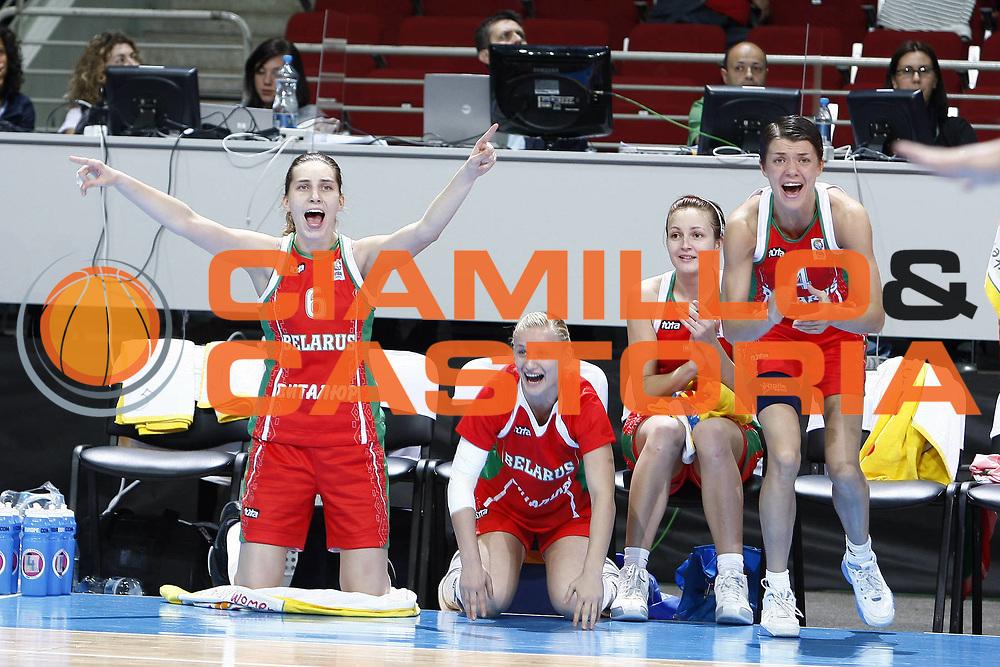 DESCRIZIONE : Riga Latvia Lettonia Eurobasket Women 2009 Quarter Final Slovacchia Bielorussia Slovak Republic Belarus<br /> GIOCATORE : Katsiaryna Snytsina Volha Padabed Yuliya Dureika<br /> SQUADRA : Bielorussia Belarus<br /> EVENTO : Eurobasket Women 2009 Campionati Europei Donne 2009 <br /> GARA : Slovacchia Bielorussia Slovak Republic Belarus<br /> DATA : 17/06/2009 <br /> CATEGORIA : esultanza<br /> SPORT : Pallacanestro <br /> AUTORE : Agenzia Ciamillo-Castoria/E.Castoria<br /> Galleria : Eurobasket Women 2009 <br /> Fotonotizia : Riga Latvia Lettonia Eurobasket Women 2009 Quarter Final Slovacchia Bielorussia Slovak Republic Belarus<br /> Predefinita : si