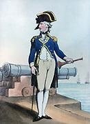 Lieutenant of the Watch 1799.  Print by Thomas Rowlandson (1756-1827). Aquatint.