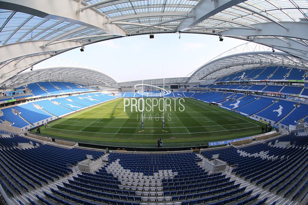 Brighton & Hove Albion Football Club grounds staff prepare the pitch ahead of the 2015 Under 20s 6 Nations match between England and France at the American Express Community Stadium, Brighton and Hove, England on 20 March 2015.