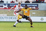 Daniel Parslow and Uche Ikpeazu during the EFL Sky Bet League 2 match between Cambridge United and Cheltenham Town at the R Costings Abbey Stadium, Cambridge, England on 26 November 2016. Photo by Antony Thompson.