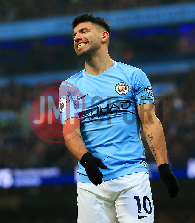 Sergio Aguero of Manchester City reacts after missing a chance - Mandatory by-line: Matt McNulty/JMP - 23/12/2017 - FOOTBALL - Etihad Stadium - Manchester, England - Manchester City v Bournemouth - Premier League