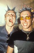 Two clubbers in cyber gear, Ibiza 1998