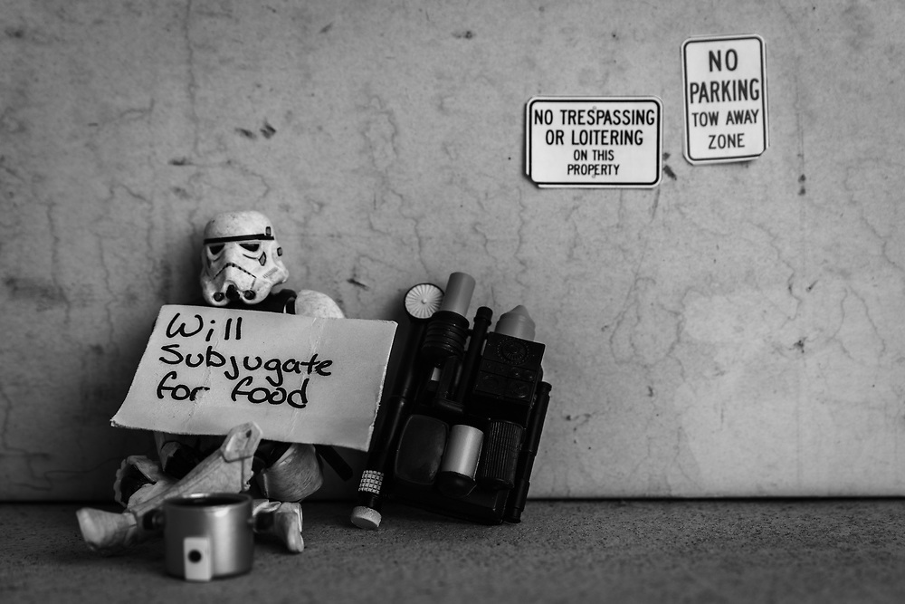 A stormtrooper looks for work in the depressed Imperial economy.