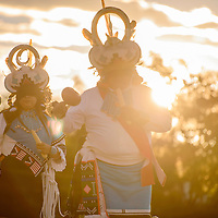 The White Eagle Dancers from Zuni perform a moon and star dance during the Nightly Dances Wednesday at the McKinley County Courthouse Plaza in Gallup. This is the final week for the summer-long dance series which concludes on Labor Day.