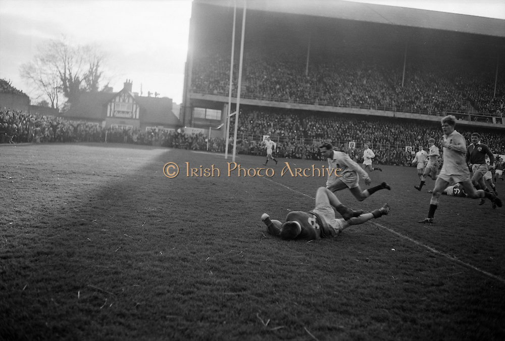 Irish forward Lamont scores the only try of the game with English forwards Richards and Payne on his heels,.Murphy, Irish back on the right,..Irish Rugby Football Union, Ireland v England, Five Nations, Landsdowne Road, Dublin, Ireland, Saturday 13th February, 1965,.13.2.1965, 2.13.1965,..Referee- H S Laidlaw, Scottish Rugby Union, ..Score- Ireland 5 - 0 England, ..Irish Team, ..T J Kiernan,  Wearing number 15 Irish jersey, Full Back, Cork Constitution Rugby Football Club, Cork, Ireland,..P J Casey, Wearing number 14 Irish jersey, Right Wing, Landsdowne Rugby Football Club, Dublin, Ireland, ..M K Flynn, Wearing number 13 Irish jersey, Right Centre, Wanderers Rugby Football Club, Dublin, Ireland, ..K J Houston, Wearing number 12 Irish jersey, Left Centre, Bruff Rugby Football Club, Limerick, Ireland, and, Oxford University Rugby Footabll Club, Oxford, England,..P J McGrath,  Wearing number 11 Irish jersey, Left Wing, University college Cork Rugby Football Club, Cork, Ireland,..C M H Gibson, Wearing number 10 Irish jersey, Stand Off, Cambridge University Rugby Football Club, Cambridge, England, and, N.I.F.C, Rugby Football Club, Belfast, Northern Ireland, ..R M Young, Wearing number 9 Irish jersey, Scrum Half, Queens University Rugby Football Club, Belfast, Northern Ireland,..S MacHale, Wearing number 1 Irish jersey, Forward, Landsdowne Rugby Football Club, Dublin, Ireland, ..K W Kennedy, Wearing number 2 Irish jersey, Forward, Queens University Rugby Football Club, Belfast, Northern Ireland,..R J McLoughlin, Wearing number 3 Irish jersey, Captain of the Irish team, Forward, Gosforth Rugby Football Club, Newcastle, England, ..W J McBride, Wearing number 4 Irish jersey, Forward, Bective Rangers Rugby Football Club, Dublin, Ireland,  ..W A Mulcahy, Wearing number 5 Irish jersey, Forward, Bective Rangers Rugby Football Club, Dublin, Ireland,  ..M G Doyle, Wearing number 6 Irish jersey, Forward, University College Dublin Rugby Football Club, Dublin, Ireland,..R A Lamont,