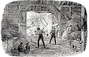 Threshing with ash wood flails in a barn.  A labour-intensive winter occupation for farm labourers which was gradually made obsolete with the introduction of threshing machines.  From 'The Illustrated London News', 1846.