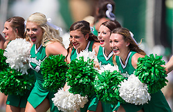 Sep 6, 2015; Huntington, WV, USA; Marshall Thundering Herd cheerleaders run out before the start of their game against the Purdue Boilermakers at Joan C. Edwards Stadium. Mandatory Credit: Ben Queen-USA TODAY Sports