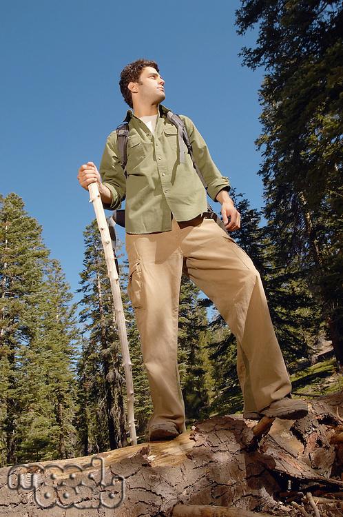 Hiker on Log