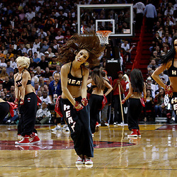March 3, 2011; Miami, FL, USA; Miami Heat dancers perform during a game against the Orlando Magic at the American Airlines Arena. The Magic defeated the Heat 99-96.    Mandatory Credit: Derick E. Hingle