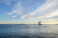 Lady Washington at sail in Semiahmoo Bay, Washington. Lady Washington is a historic replica of the original 18th Century brig. Owned and operated by the Grays Harbor Historical Seaport, Aberdeen, Washington