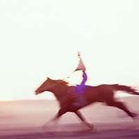 Horse racing with steppe horse, Shiele Village, Kazakhstan