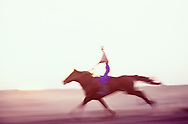 Horse racing with steppe horse, Shiele Village, Kazakhstan