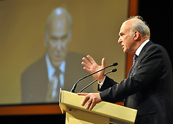 © Licensed to London News Pictures. 17/09/2011. BIRMINGHAM, UK. Vince Cable. The Rt Hon Dr Vincent Cable MP Business Innovation and Skills Secretary delivers his speech to the Liberal Democrat Conference at the Birmingham ICC today (19 Sept 2011): Stephen Simpson/LNP . Photo credit : Stephen Simpson/LNP